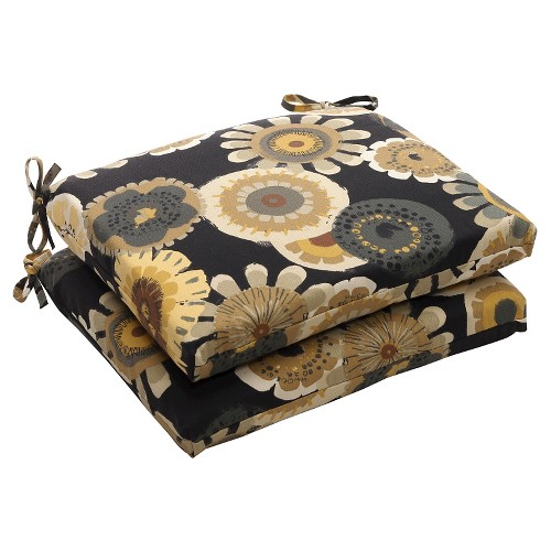 Outdoor 2-Piece Chair Cushion Set - Black/Yellow Floral