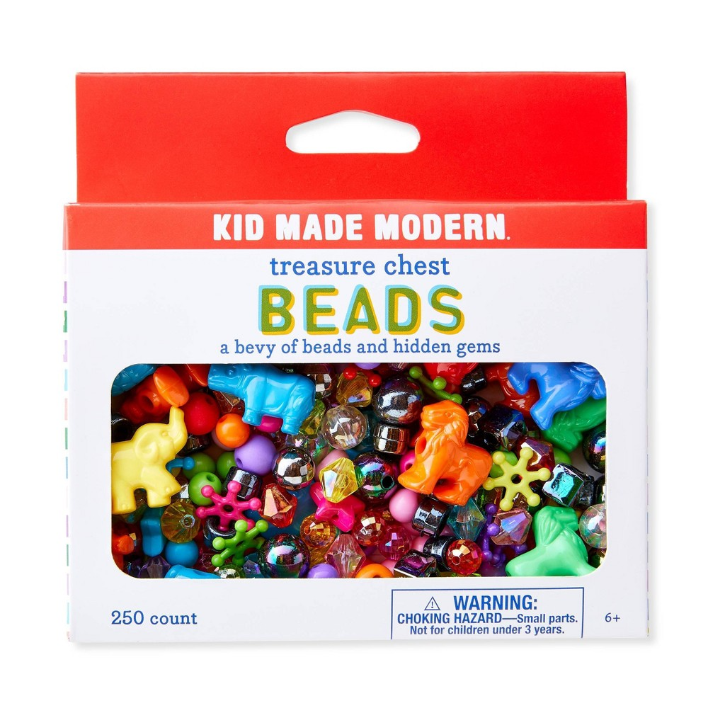 Kid Made Modern 250ct Treasure Chest Beads, Multi-Colored Kid Made Modern's collection of colorful craft supplies are perfect for your budding crafter. Treasure Chest Beads feature an array of various shapes and colors, finding all the treasures inside will be just as much fun as dreaming up what to create with them. Color: Multi-Colored.