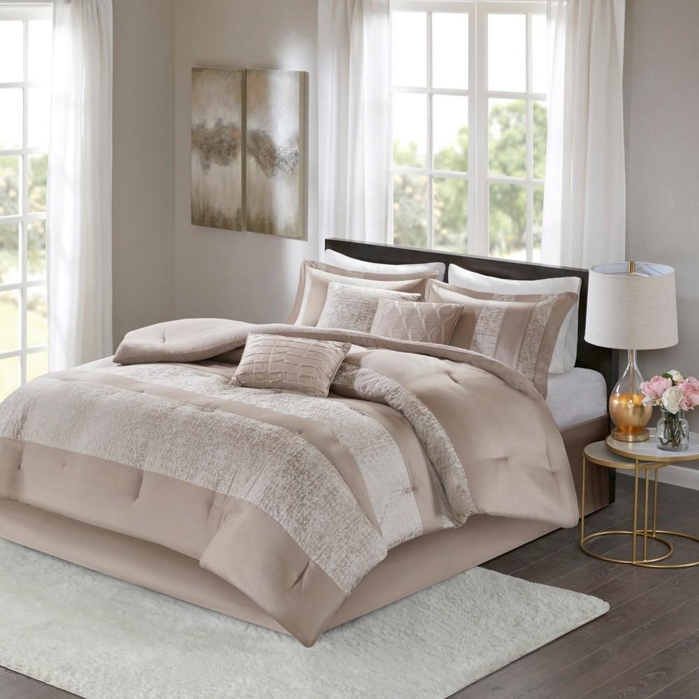 7pc King Anett Chenille Jacquard Comforter Set Taupe, Gray