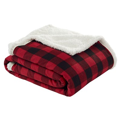 Cabin Plaid Flannel Sherpa Throw Red - (50 x60 )- Eddie Bauer®