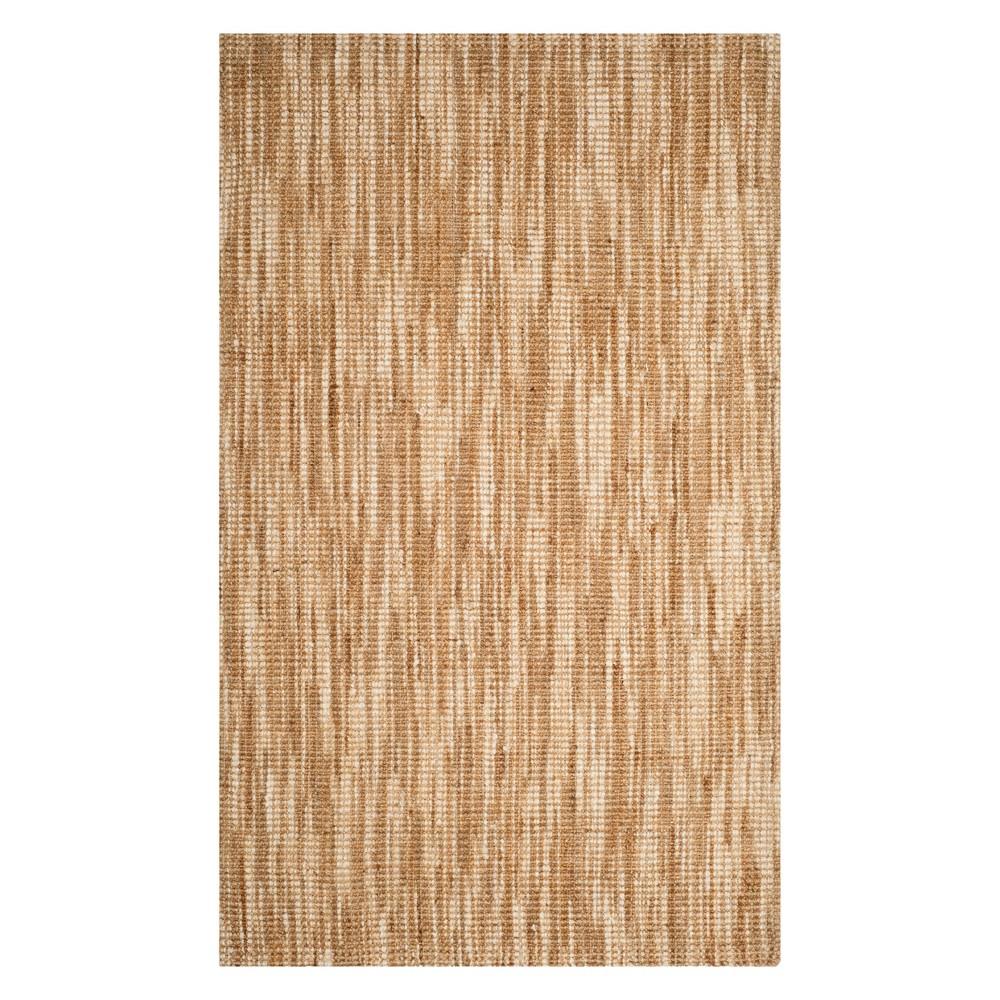 6'X9' Solid Woven Area Rug Natural/Cream - Safavieh, White
