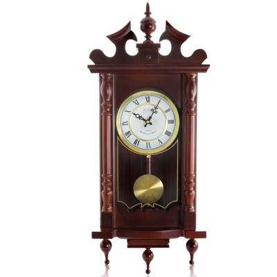 Bedford Clock Collection Classic 31 Inch Chiming Pendulum Wall Clock in Cherry Oak Finish