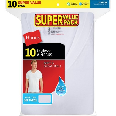 Hanes Men's Super Value V-Neck 10pk Undershirt - White