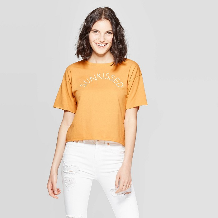 Women's Short Sleeve Sunkissed Cropped Graphic T-Shirt - Modern Lux (Juniors') - Yellow - image 1 of 2