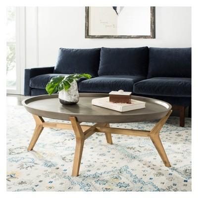 Hadwin Modern Concrete Oval Dia Coffee Table   Dark Grey   Safavieh : Target