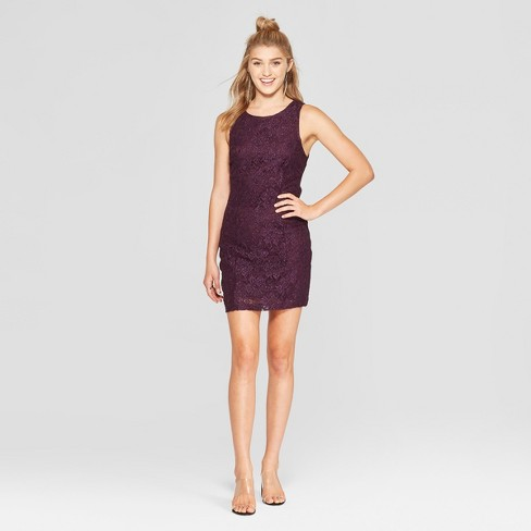 450d9c547a6 Women s Sleeveless Glitter Lace Bodycon Dress - Lots of Love by Speechless ( Juniors ) Purple