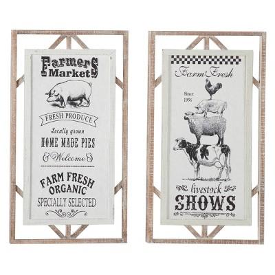 "(Set of 2) 16""x 30"" Rectangular Farmer Market Sign Wall Decor with Wood Framing Black/White - Olivia & May"