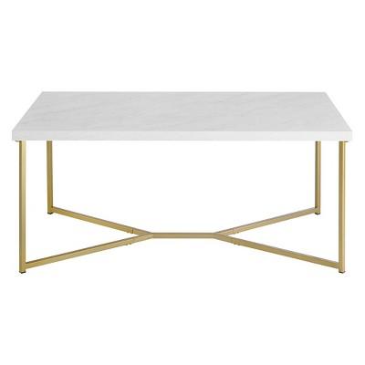 Glam Mid-Century Modern Y Leg Rectangle Coffee Table Faux White Marble/Gold - Saracina Home