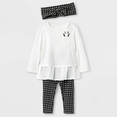 Baby Girls' 3pc Top and Bottom Set - Cat & Jack™ White/Black 0-3M