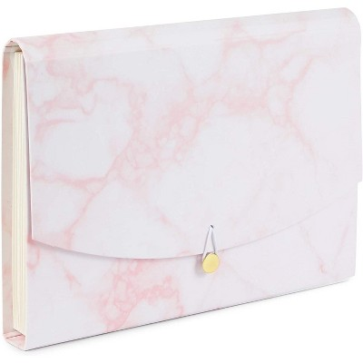 Paper Junkie Pink Marble Expanding File Folder Organizer with 10 Pockets (Letter Size)