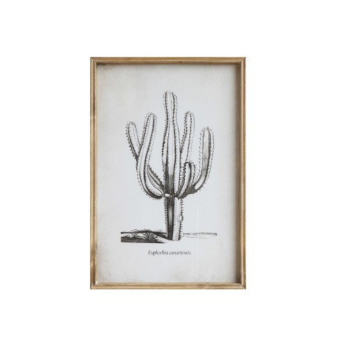 "23.5"" x 15.7"" Cactus Wall Dcor with Glass & Brown Wood Frame - 3R Studios - image 1 of 1"