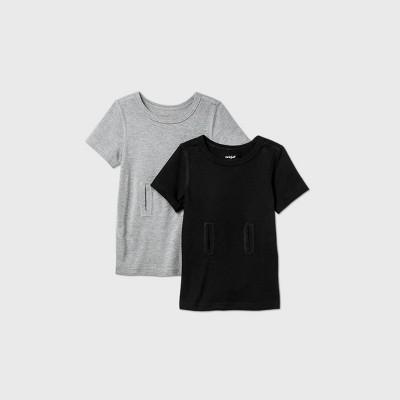 Toddler Boys' 2pk Adaptive Short Sleeve G-Tube Access T-Shirt - Cat & Jack™ Gray/Black
