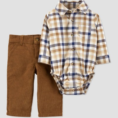 Baby Boys' Plaid Top & Bottom Set - Just One You® made by carter's Brown 12M
