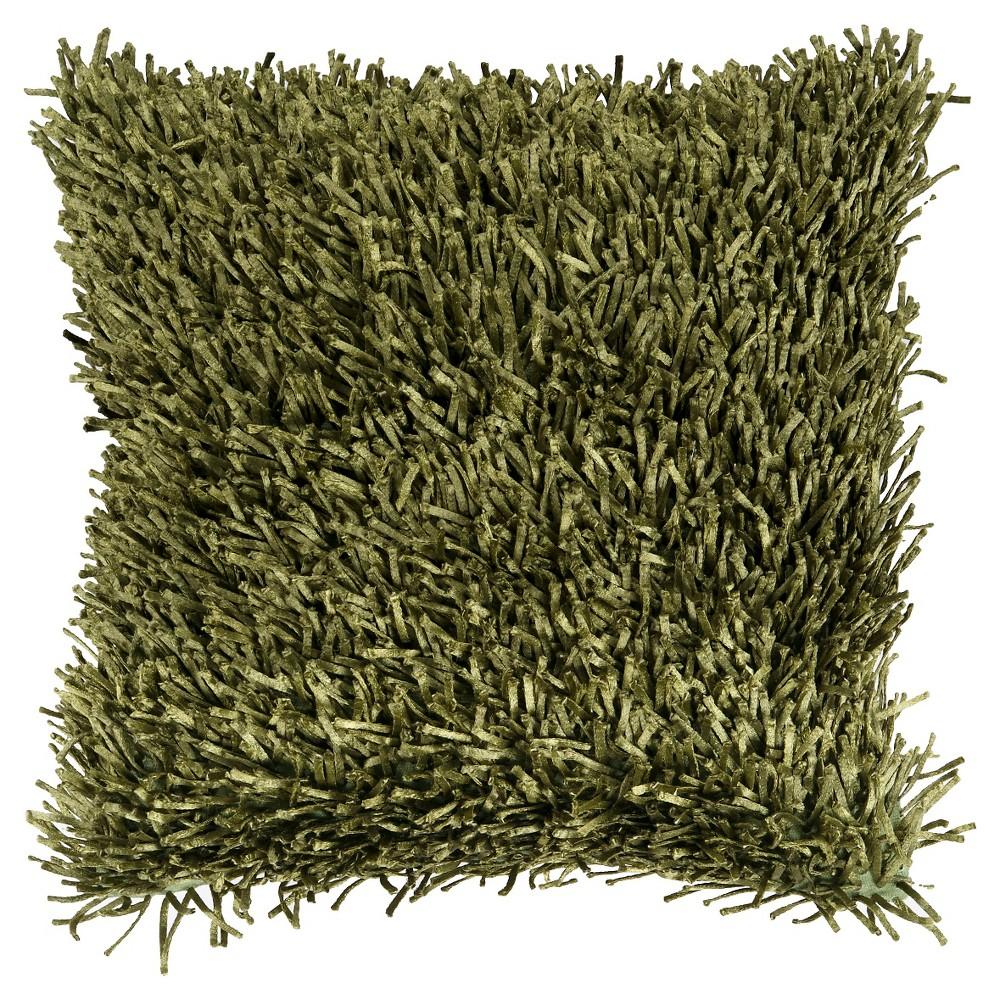 Olive (Green) Nitro Shag Throw Pillow 20