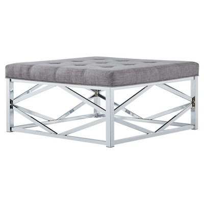 Fontaine Chrome Dimple Tufted Geometric Cocktail Ottoman Smoke - Inspire Q