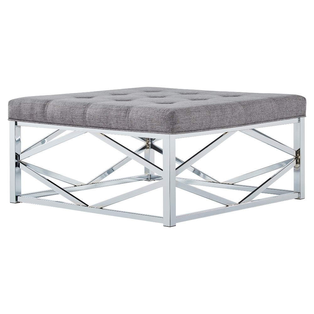 Fontaine Chrome Dimple Tufted Geometric Cocktail Ottoman Smoke (Grey) - Inspire Q