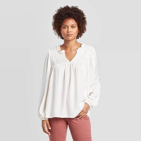 Women's Long Sleeve Split Neck Satin Blouse With Smocking - Knox Rose™ - image 1 of 2