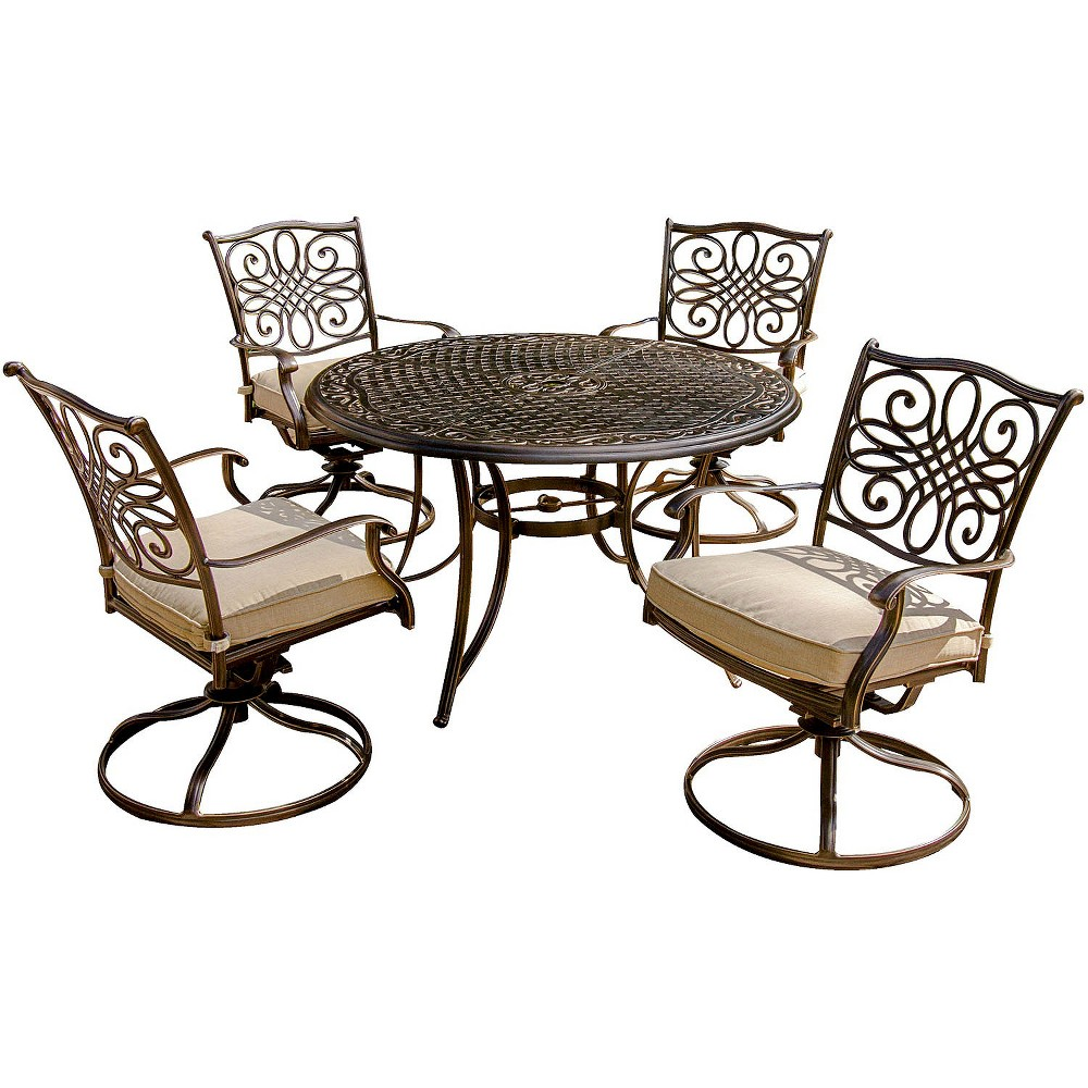 Traditions 5-Piece Metal Patio Motion Dining Furniture Set, Tan