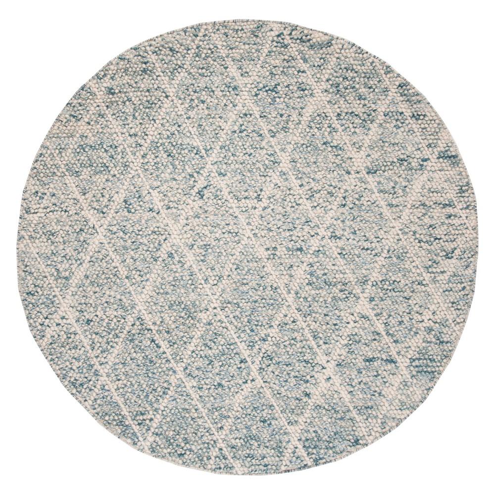 6' Diamond Woven Round Area Rug Ivory/Blue - Safavieh