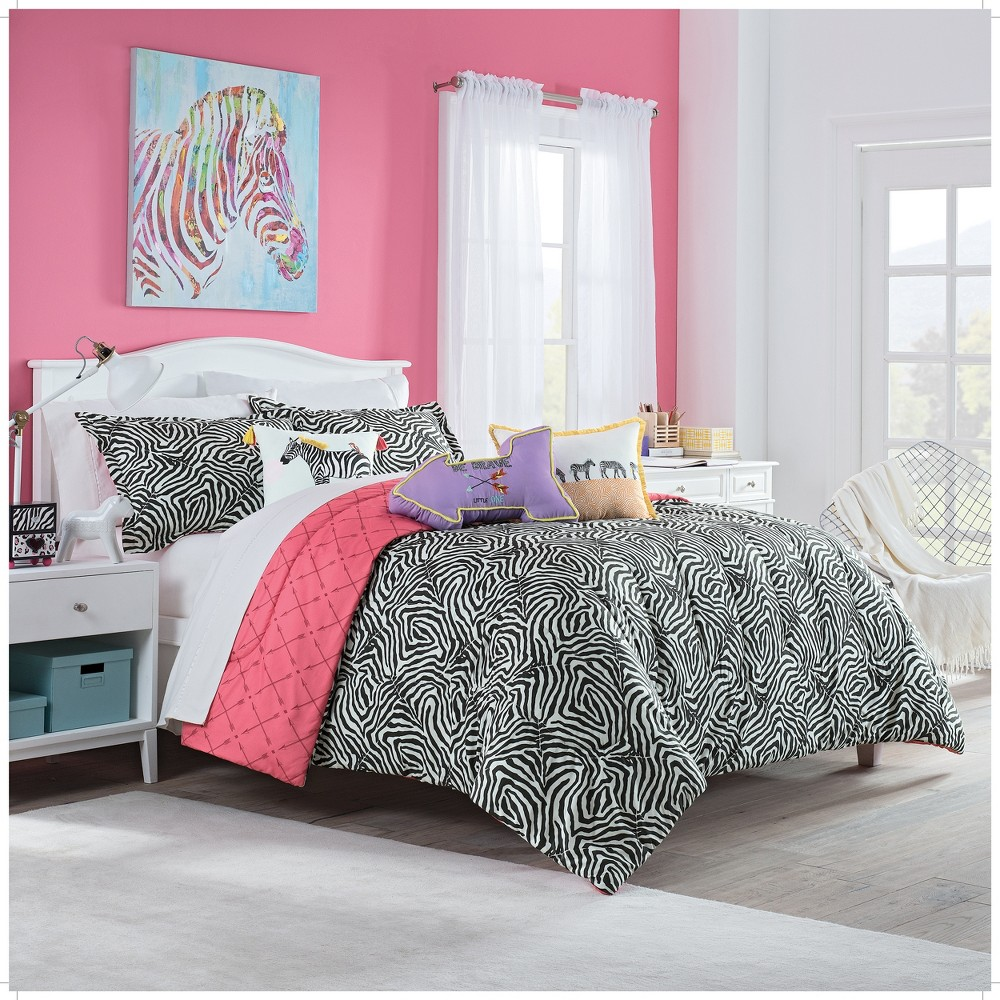 2pc Twin Wild Life Reversible Comforter Sets Black - Spree By Waverly, Black White