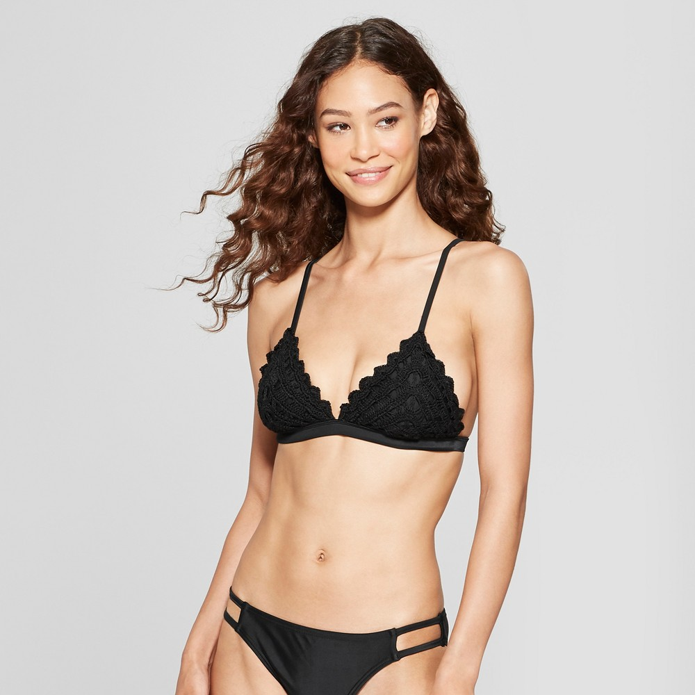 Women's Crochet Triangle Bikini Top - Xhilaration Black L