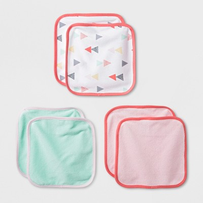 Baby Girls' Geo Bright 6pk Washcloths - Cloud Island™ Pink