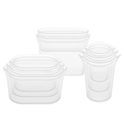 Zip Top Reusable 100% Platinum Silicone Container - Complete Set - Clear