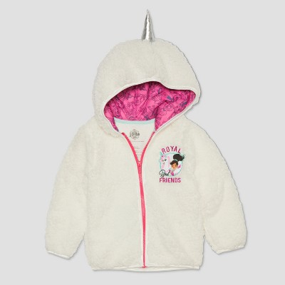 Toddler Girls' Nella the Princess Knight Royal Friends Unicorn Hoodie - White 2T