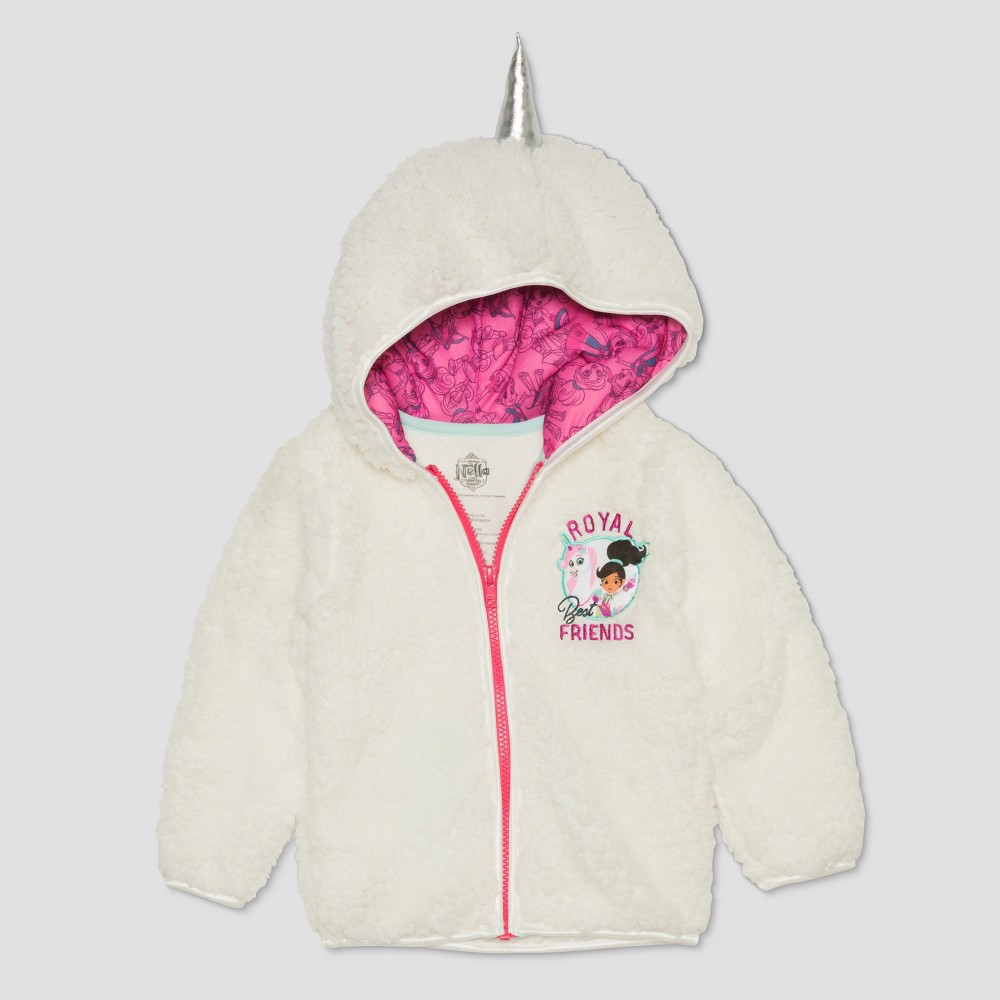 Image of Toddler Girls' Nella the Princess Knight Royal Friends Unicorn Hoodie - White 12 M, Girl's, Size: 12M