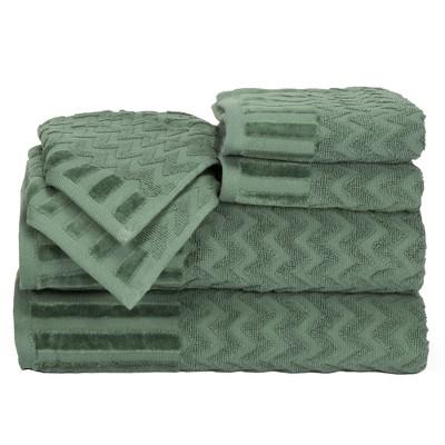 Chevron Bath Towels And Washcloths 6pc Green - Yorkshire Home