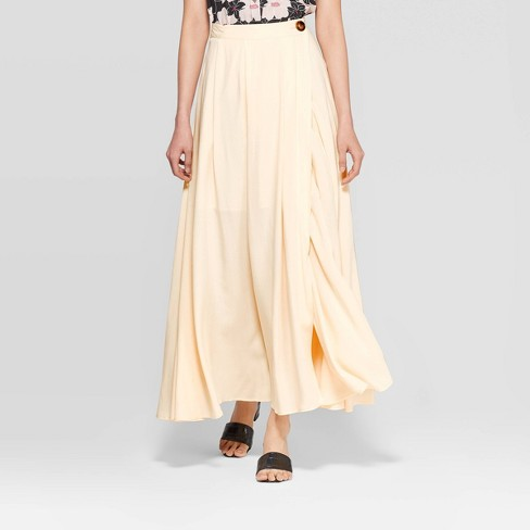 Women's Mid-Rise High Slit Maxi Skirt - Who What Wear™ Cream - image 1 of 3