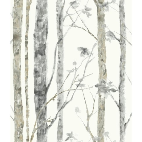 Roommates Birch Trees Peel And Stick Wallpaper White Brown Target