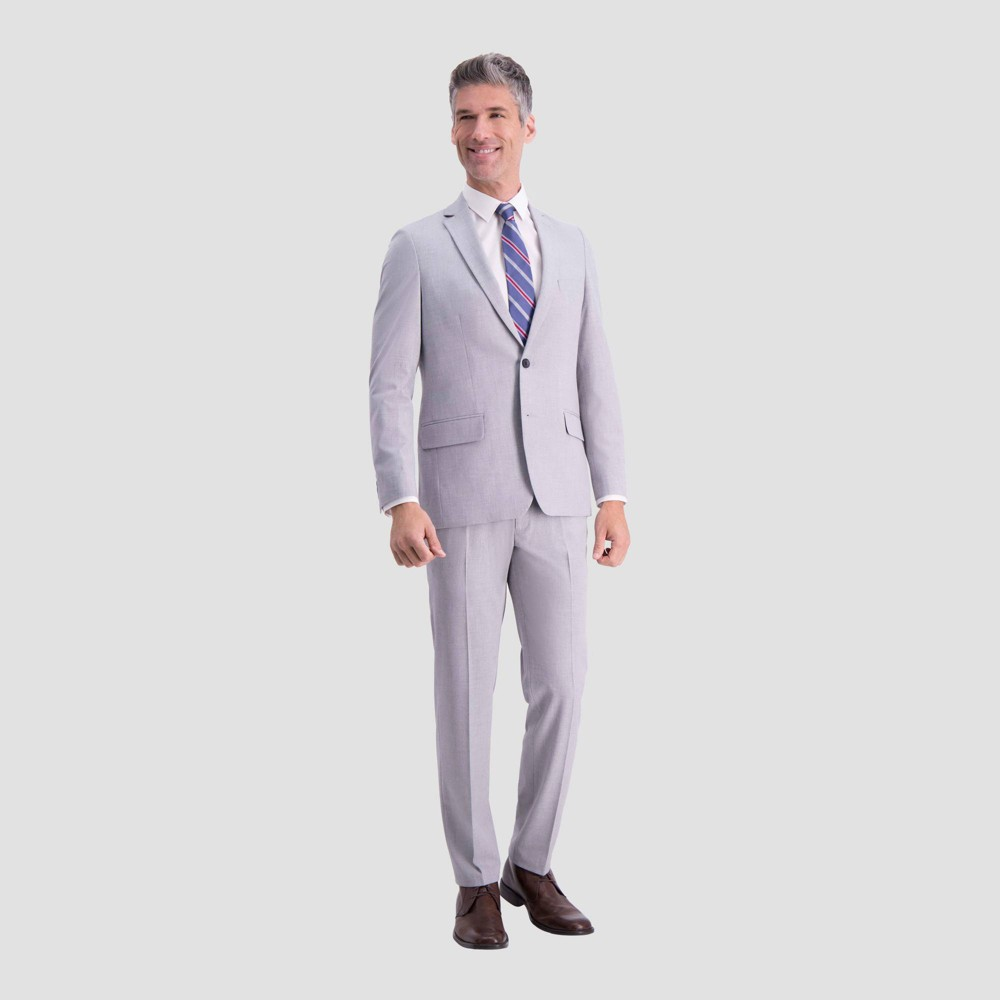 Haggar H26 Men 39 S Slim Fit Premium Stretch Suit Jacket Light Gray 38r