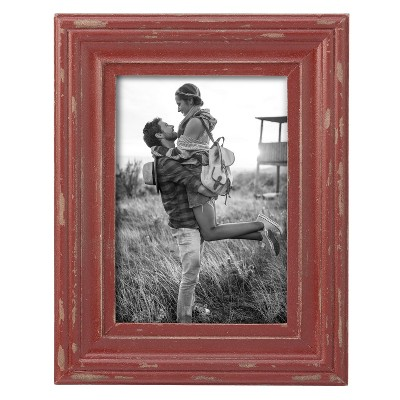 Red Decorative Distressed Wood Picture Frame - Foreside Home & Garden