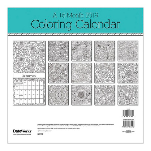 2019 wall calendar coloring book trends international target