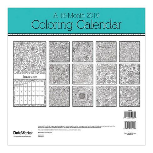 2019 Wall Calendar Coloring Book - Trends International