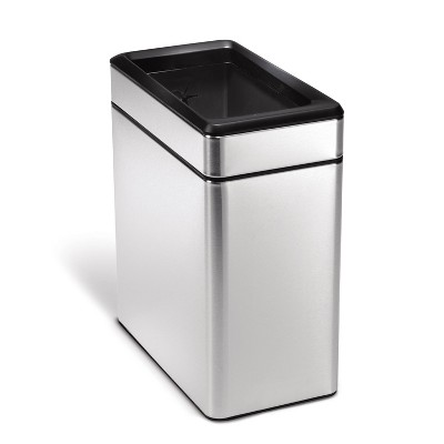 simplehuman 10L Profile Open Trash Can Brushed Stainless Steel