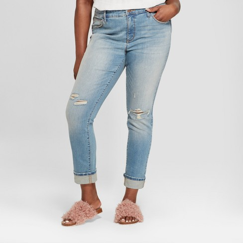 Women's Plus Size Destructed Skinny Jeans - Universal Thread™ Medium Wash - image 1 of 3