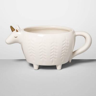 14oz Stoneware Unicorn Figural Mug Cream - Opalhouse™