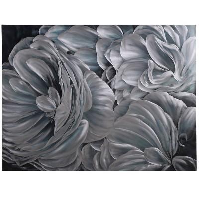"47"" x 35"" Large Floral Bloom Metallic Canvas Wall Art Panel Gray/Silver - StyleCraft"