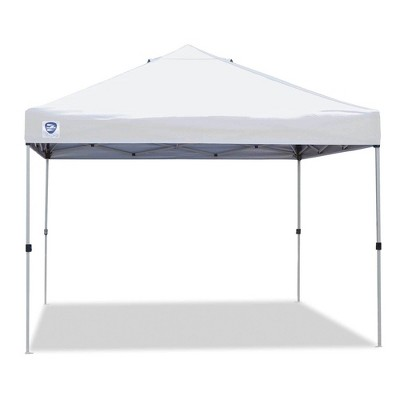 Z-Shade 10 x 10 Foot Peak Straight Leg Portable Instant Shade Tent Outdoor Canopy with Reliable Stakes, Steel Frame, and Carrying Bag, White