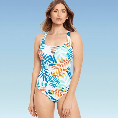 Women's Slimming Control Colorblock One Piece Swimsuit - Beach Betty by Miracle Brands White Tropical Print
