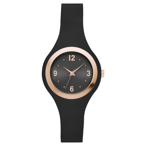 Women's Rubber Strap Watch - Xhilaration™ Black/Rose Gold - image 1 of 1