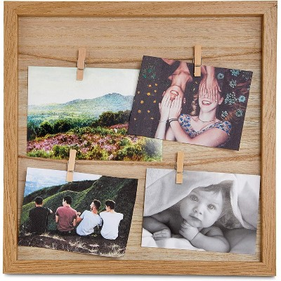 Farmlyn Creek Juvale Picture Frame with Clips, Rustic Wall Décor (12 x 12 in)