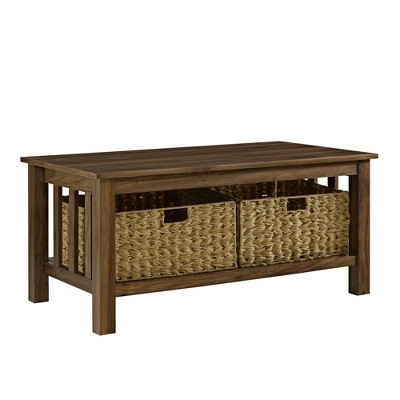 40  Wood Storage Coffee Table with Totes Dark Walnut - Saracina Home
