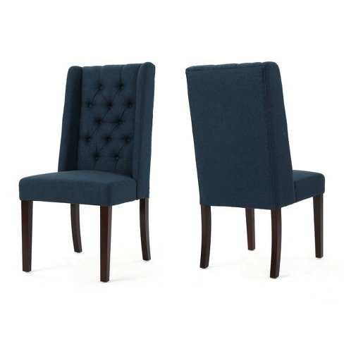 Fantastic Set Of 2 Blythe Tufted Dining Chairs Navy Blue Christopher Knight Home Bralicious Painted Fabric Chair Ideas Braliciousco