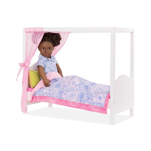 Our Generation My Sweet Canopy Bed Blue Pink Target