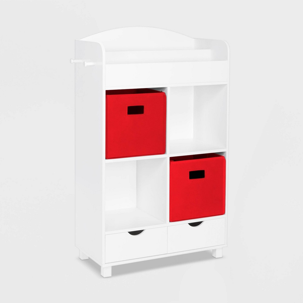 Image of 2pc Bin Book Nook Kids Cubby Storage Cabinet with Book Rack Red - RiverRidge