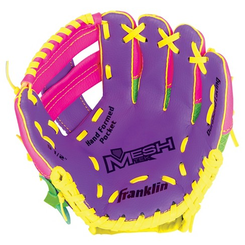 "Franklin Sports 9.5"" Teeball Meshtek Glove Purple/Pink/Yellow-Right Handed - image 1 of 2"