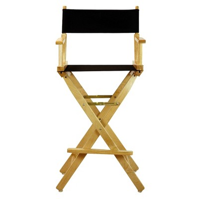 Bar-Height Director's Chair - Natural Frame, Black Canvas